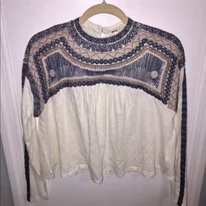 NWT FREE PEOPLE Embroidered Long Sleeve Top XS